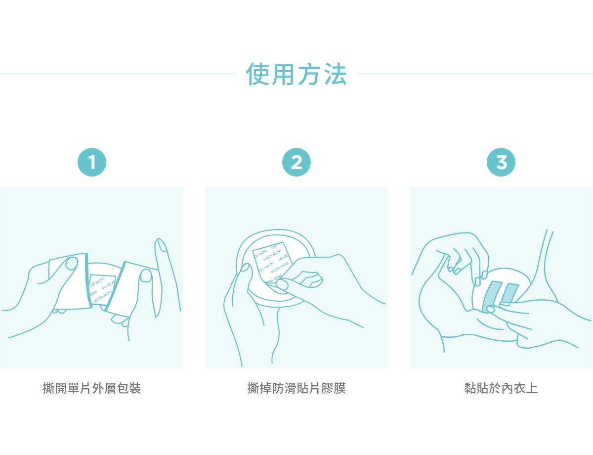 溢乳墊, 瞬吸拋棄式防溢乳墊, 哺乳, 母乳, 哺乳期間, 產後, 使用方法, 乾爽舒適, 外層包裝, 防滑貼片膠膜