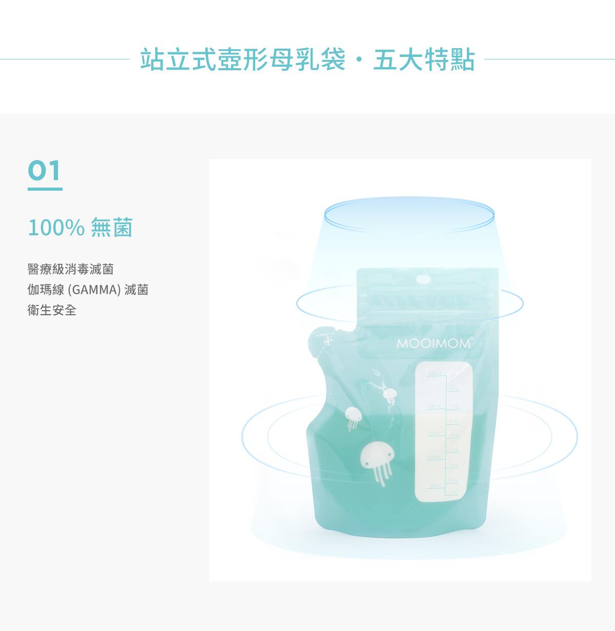 母乳袋, 站立式壺形母乳袋,, 母乳, 哺乳, 哺餵, 特點, 100%無菌, 消毒滅菌, 衛生安全