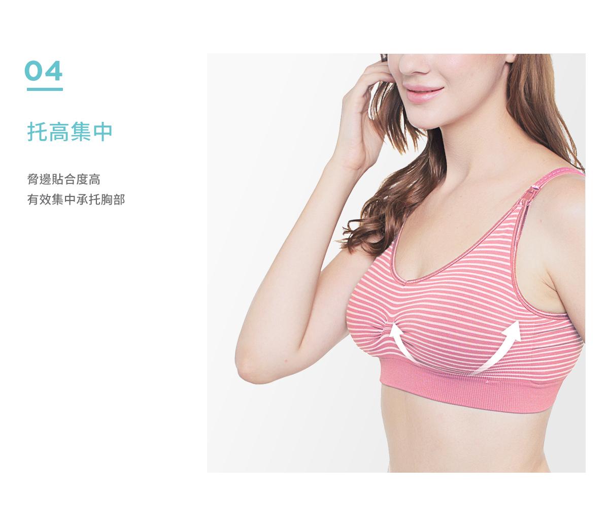 哺乳期, 托高集中, 哺乳內衣, 孕婦內衣, 特點, 胸部變化, 高彈力無痕孕哺乳內衣, 脅邊貼合度高, 有效集中承托胸部