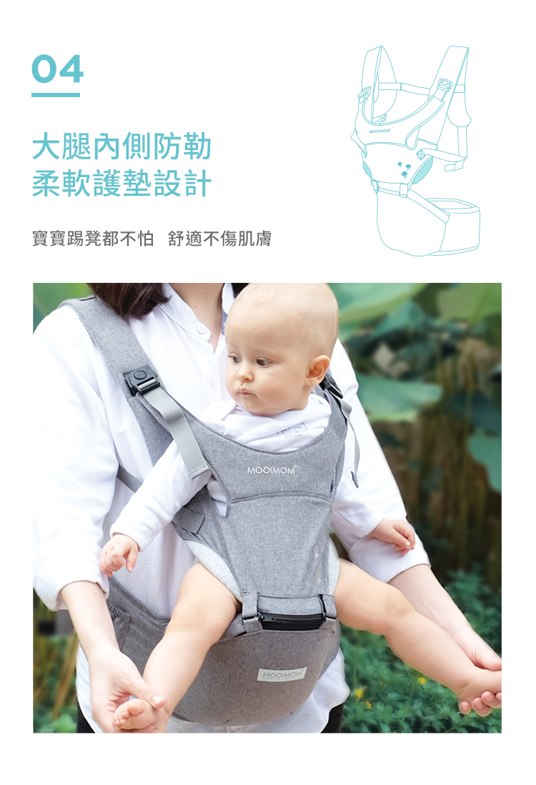 腰凳揹帶, 腰凳, 透氣腰凳, 超輕量款, 輕量, 減壓, 透氣, 輕巧簡約款, 特點, 大腿內側, 柔軟, 護墊, 舒適, 不傷肌膚