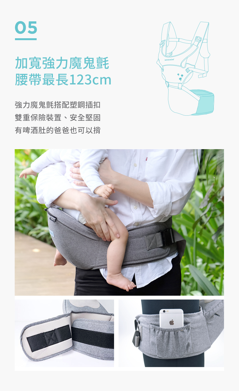 腰凳揹帶, 腰凳, 透氣腰凳, 超輕量款, 輕量, 減壓, 透氣, 輕巧簡約款, 特點, 加寬強力, 腰帶, 雙重保險裝置, 固定