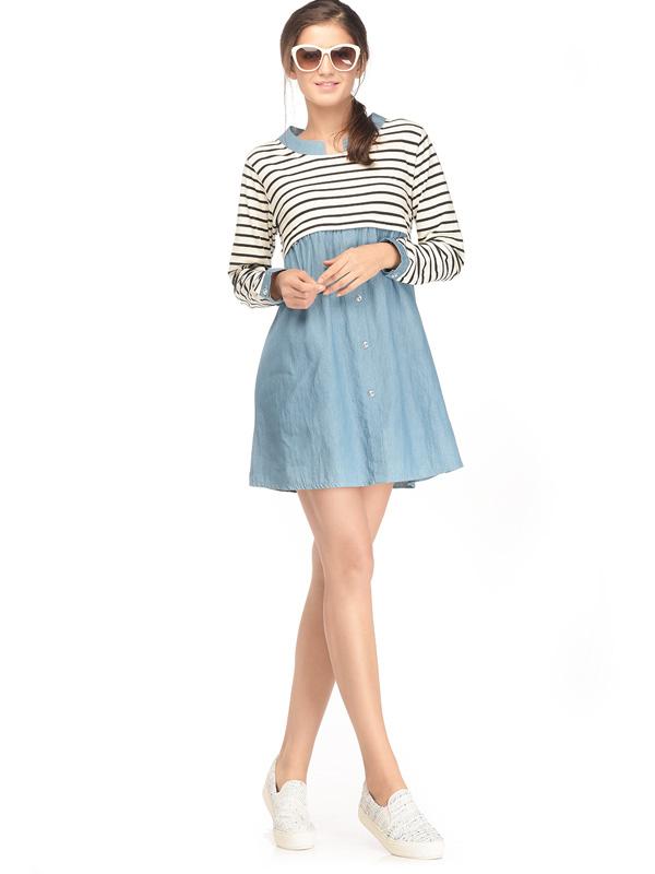 main mobile picture for Maternity & Nursing Denim Dress in Stripe with Long Sleeves Baju Hamil Menyusui