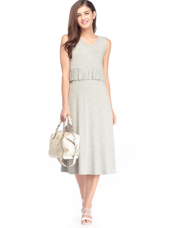 main mobile picture for Maternity & Nursing Ruffle Midi Long Dress Baju Hamil Menyusui