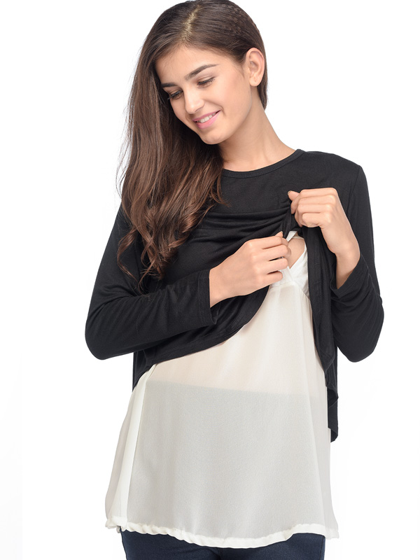 one gallery picture for Soft Touch Maternity & Nursing Top with Chiffon Hem Baju Hamil Menyusui