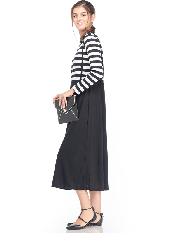 one gallery picture for Maternity & Nursing Bib Dress in Stripe with Long Sleeves Baju Hamil Menyusui