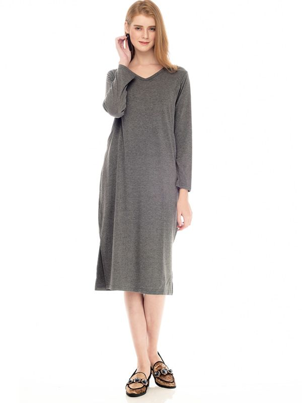 gallery picture of One Piece Side Slit Long Sleeves Nursing Dress Baju Ibu Hamil & Menyusui