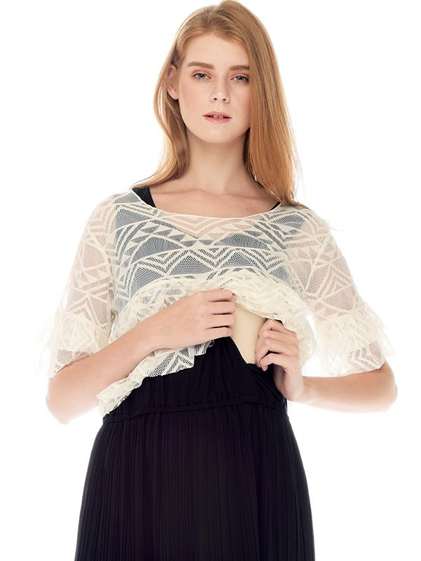 one gallery picture for Lace Flare Sleeve Two-Piece Nursing Dress Baju Hamil Menyusui