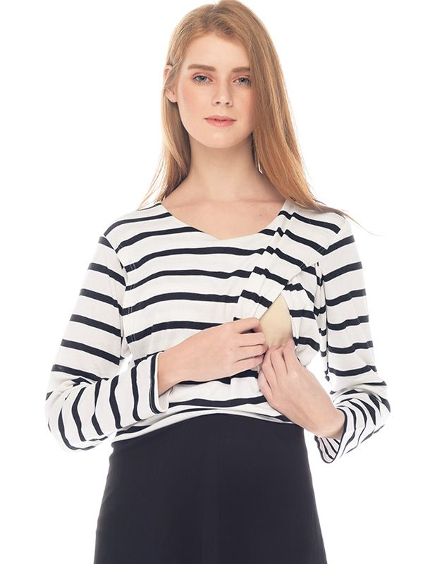 one gallery picture for One Piece Stripe with Black Long Sleeves Dress Couple Set Dress Baju Hamil Menyusui Couple Ibu Anak
