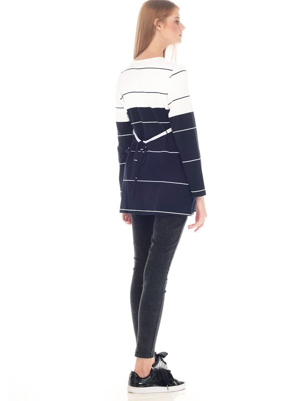 one gallery picture for Navy & White Striped Cotton Nursing Top Couple Set Baju Hamil Menyusui Couple Ibu Anak