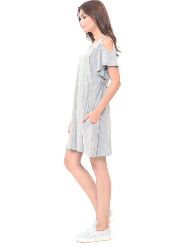 one gallery picture for MOOIMOM Cold Shoulder Nursing Dress + Baby Clothes Baju Hamil Menyusui Couple Ibu Anak