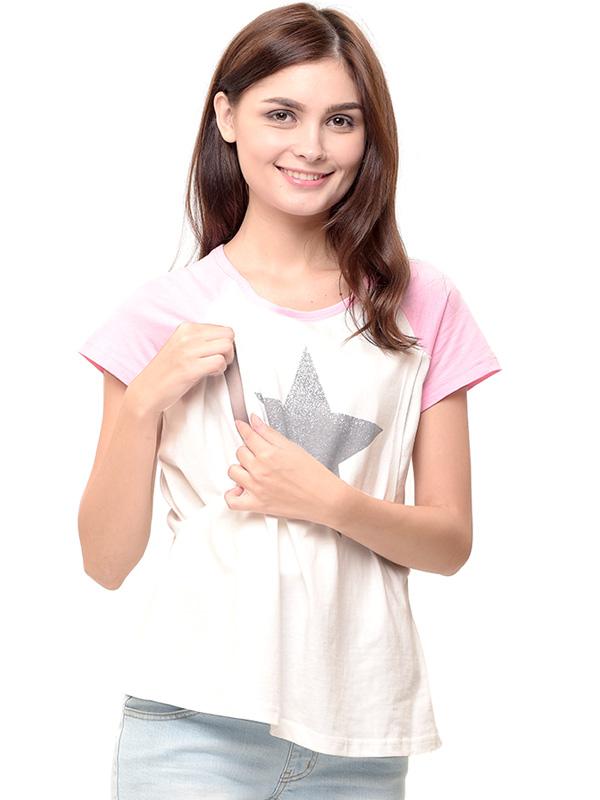 one gallery picture for MOOIMOM Star Nursing T-shirt Couple Set Baju Hamil Menyusui Couple Ibu Anak