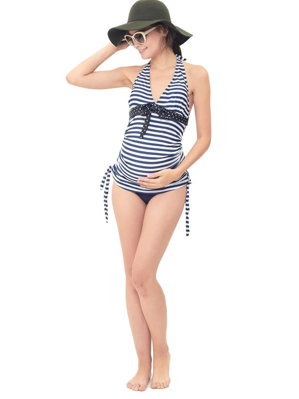 one gallery picture for Maternity Halter Stripe 2-Piece Set Swimsuit Baju Renang Ibu Hamil