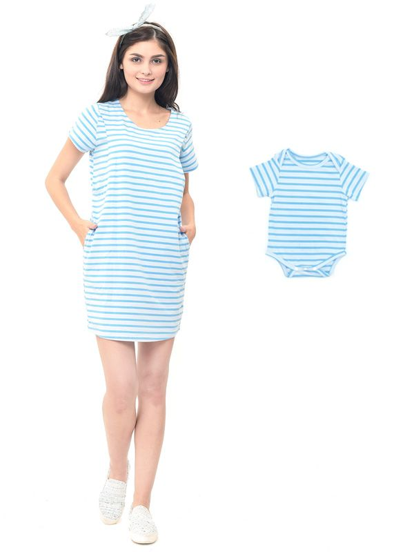 gallery picture of Comfort Stripe Nursing T-Shirts Dress Couple Set Baju Hamil Menyusui Couple Ibu Anak