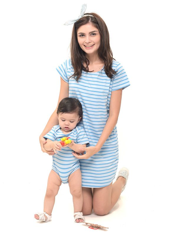 one gallery picture for Comfort Stripe Nursing T-Shirts Dress Couple Set Baju Hamil Menyusui Couple Ibu Anak