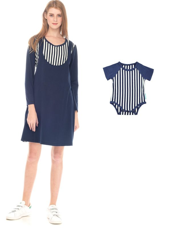 gallery picture of Straight Stripe Long Sleeves Nursing Sling Dress Couple Set Baju Hamil Menyusui Couple Ibu Anak