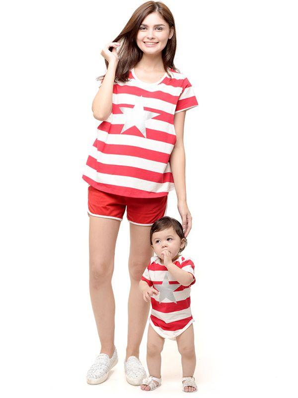 one gallery picture for Star stripe nursing couple set Baju Hamil Menyusui Couple Ibu Anak