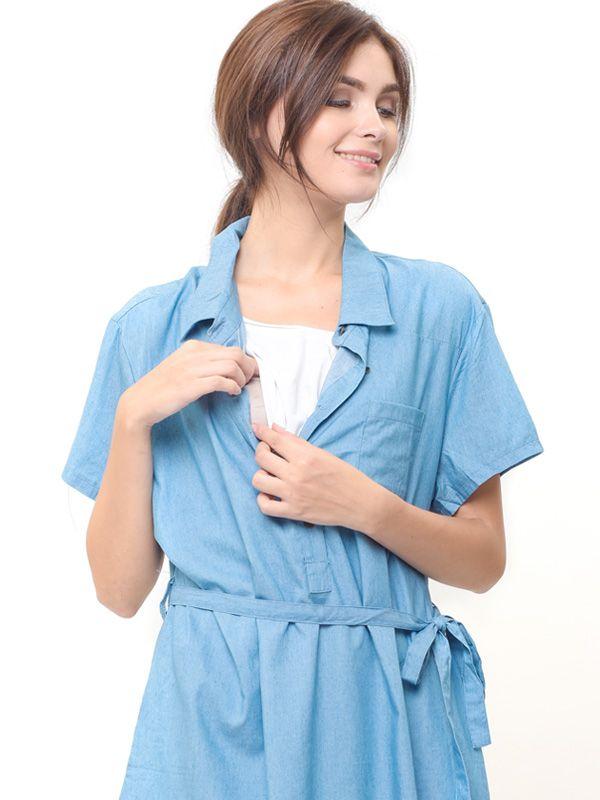 one gallery picture for MOOIMOM Denim Nursing Dress Baju Hamil Menyusui