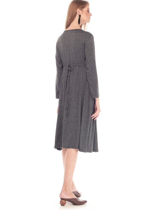 one gallery picture for V-Shaped Hollow Long Sleeves Nursing Long Dress Baju Hamil Menyusui
