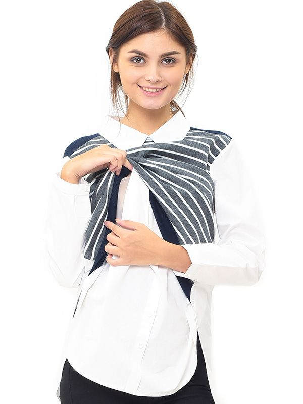 gallery picture of MOOIMOM Striped Vest Long-Sleeved Nursing Shirt with Collar Baju Hamil Menyusui