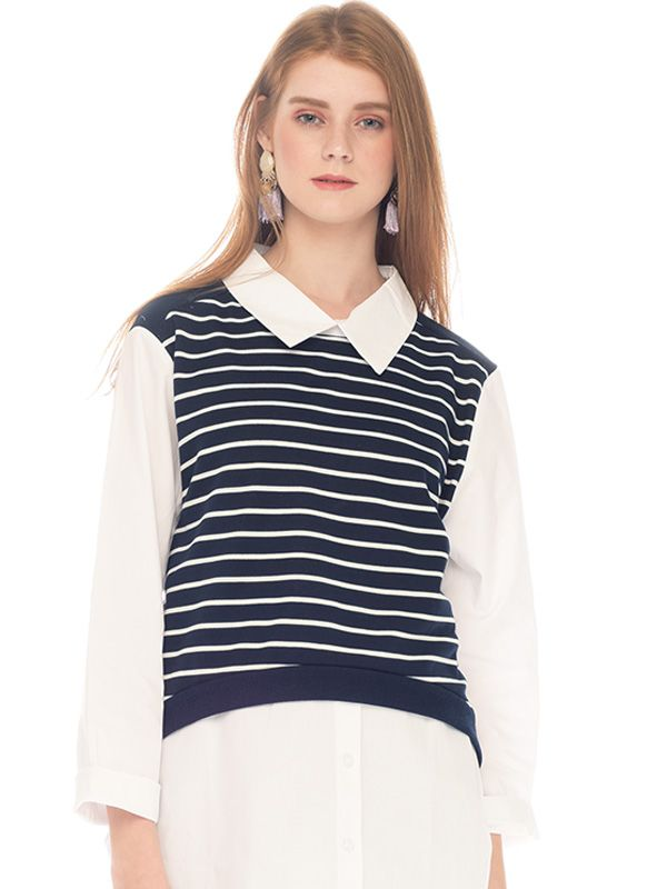 one gallery picture for Striped Vest Long-Sleeved Nursing Shirt with Collar Baju Hamil Menyusui