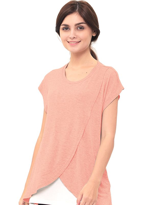 one gallery picture for MOOIMOM Maternity Nursing T-Shirt With Wrap Overlay Baju Hamil Menyusui