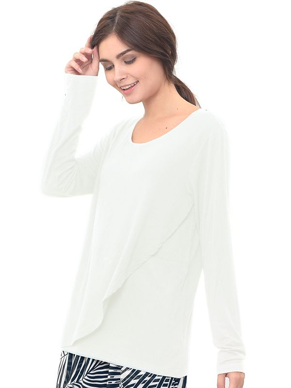 one gallery picture for Nursing Wrap Front Long Sleeve Jersey Top Baju Hamil Menyusui