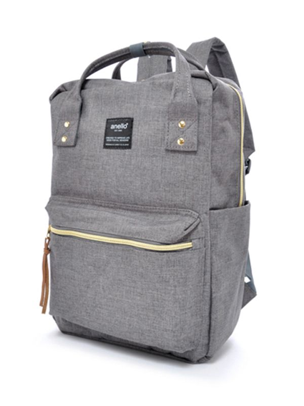 Square Backpack Grey Denim Tas Anello® Ransel OiPXZuk