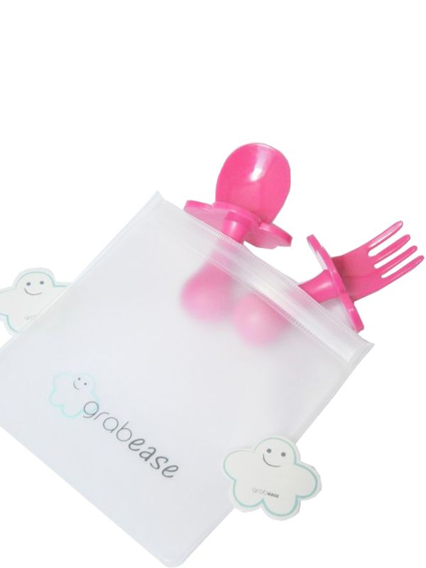 one gallery picture for Grabease - First Self Feeding Utensil Set of Spoon and Fork for Toddlers Alat Makan Bayi - Pink