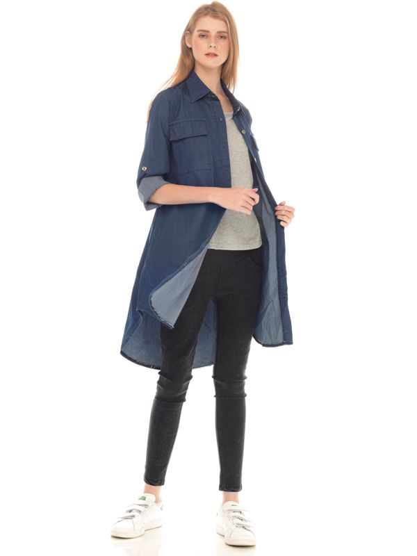 main mobile picture for Denim Long Sleeves Maternity & Nursing Shirt With Grey Inner Baju Hamil Menyusui