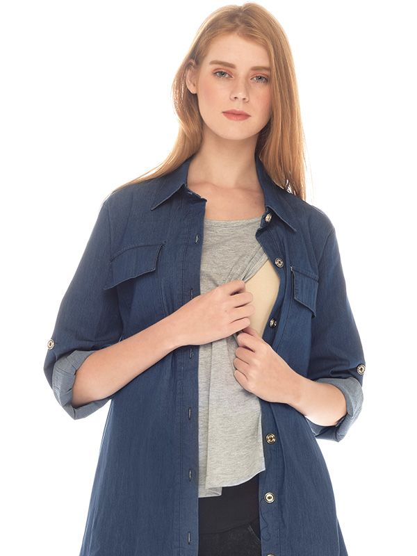 gallery picture of Denim Long Sleeves Maternity & Nursing Shirt With Grey Inner Baju Hamil Menyusui