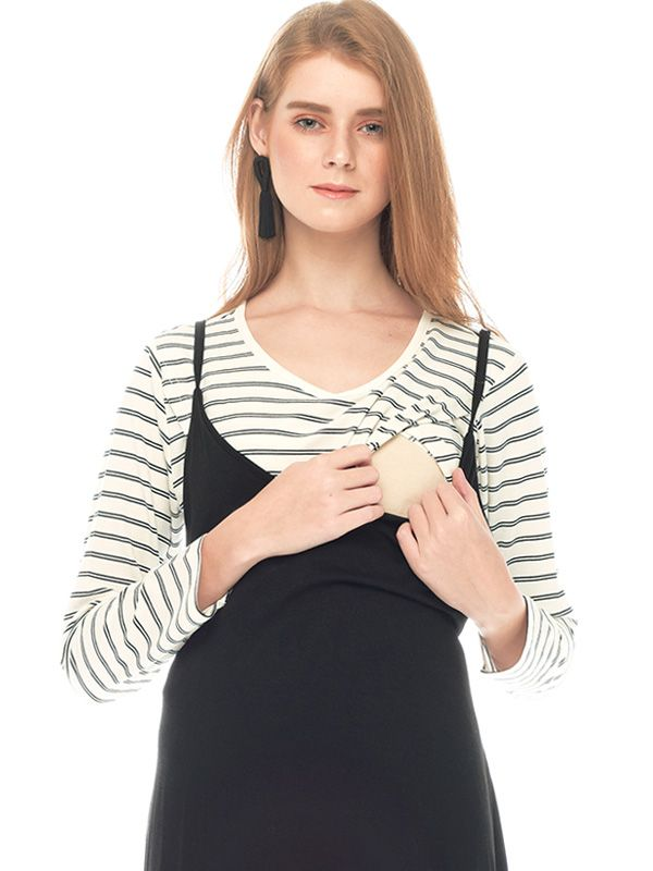 one gallery picture for Two Piece Monochrome Long Sleeve Maternity & Nursing Dress Baju Hamil Menyusui