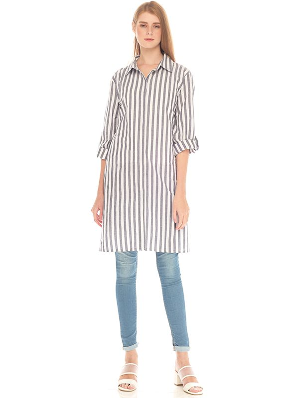 one gallery picture for Vertical Grey Stripes Long Sleeve Maternity & Nursing Shirt Baju Hamil Menyusui