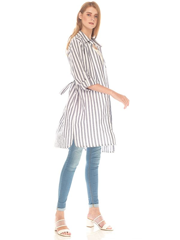 main mobile picture for Vertical Grey Stripes Long Sleeve Maternity & Nursing Shirt Baju Hamil Menyusui