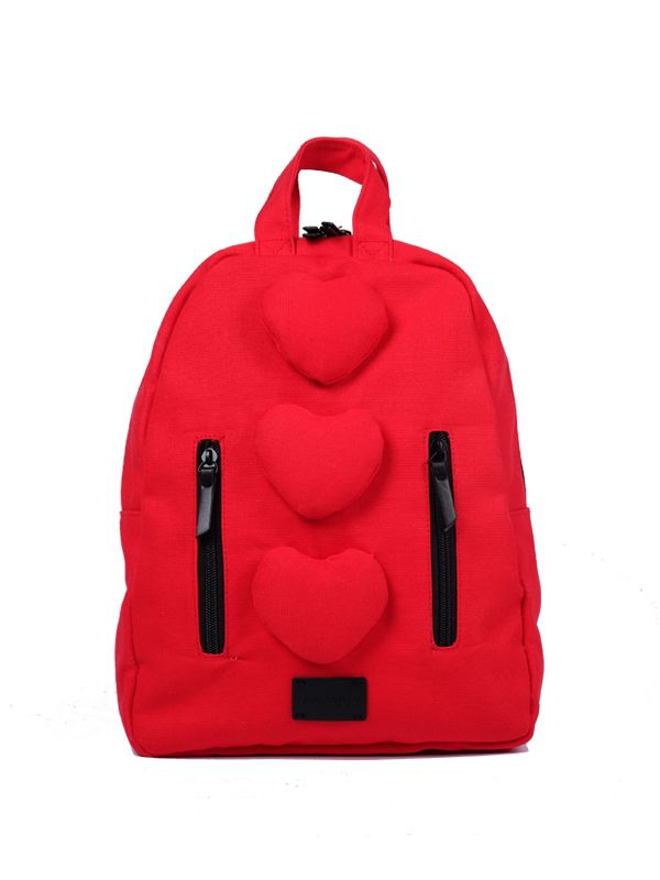 one gallery picture for 7 A.M. Mini Hearts Cotton Backpack Tas Ransel Anak - Rouge