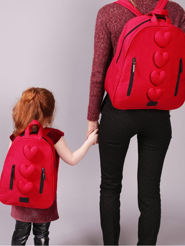 one gallery picture for 7 A.M. Midi Hearts Cotton Backpack Tas Ransel Anak - Rouge