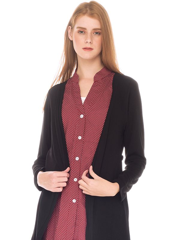 one gallery picture for Fake Two Piece Polka Dots Long Sleeves Nursing Shirt With Outer Baju Hamil Menyusui