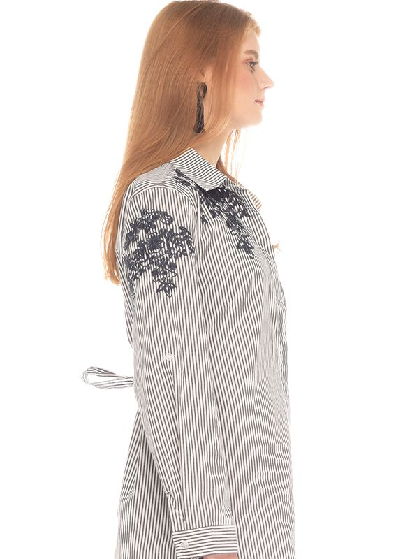 one gallery picture for Flower Embroidery Long Sleeves Maternity & Nursing Shirt Baju Hamil Menyusui