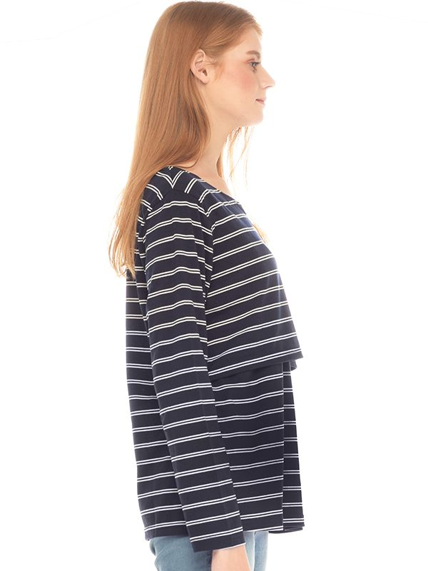 one gallery picture for Navy Striped Long Sleeves Nursing Shirt Baju Hamil Menyusui