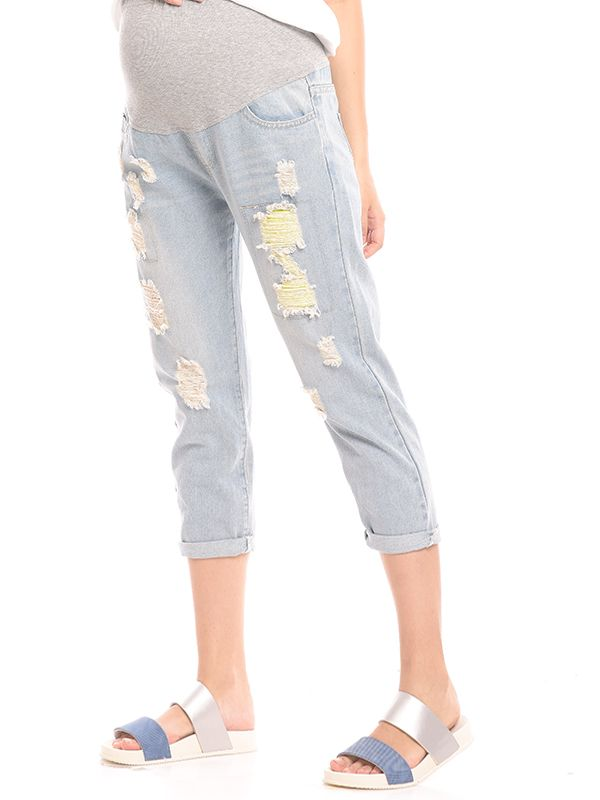 one gallery picture for New Boyfriend Maternity Jeans With Ripped Celana Jeans Hamil