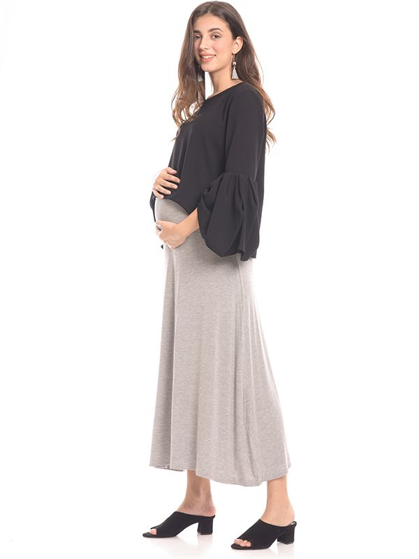 one gallery picture for Pleated Maternity Maxi Skirt Rok Ibu Hamil