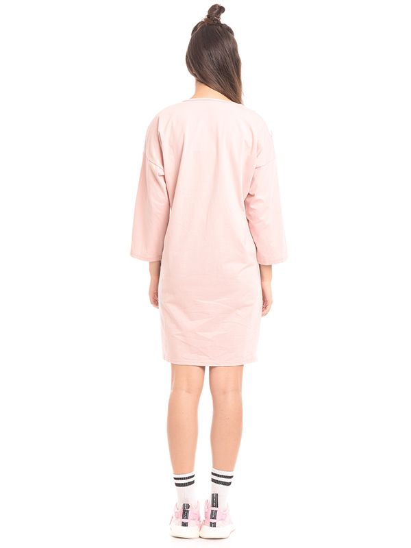 one gallery picture for Soft Pastel With V-Neck Zipper Maternity & Nursing Dress Baju Hamil & Menyusui