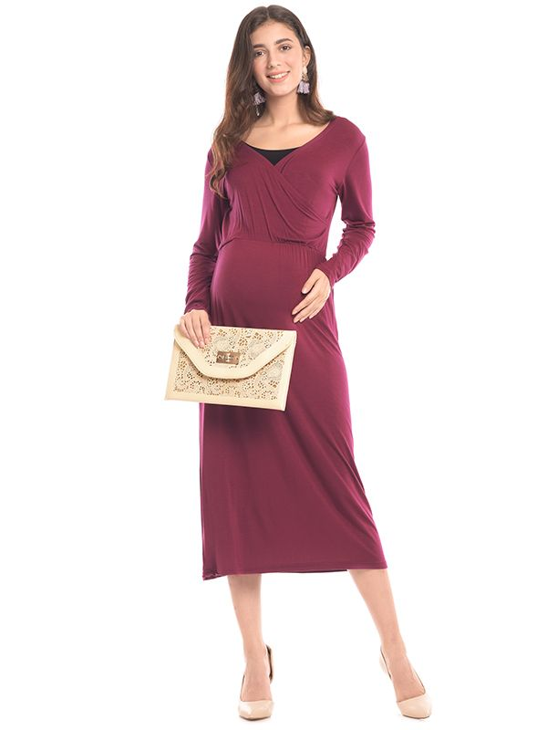 one gallery picture for Cotton Wrap Long Sleeves Maternity Nursing Dress Baju Hamil & Menyusui