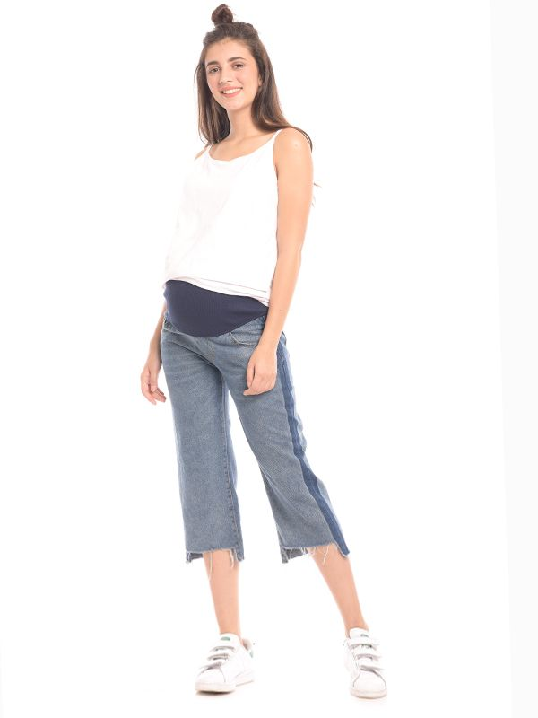 one gallery picture for Barrel Leg Maternity Jeans With Crop Hem Celana Jeans Hamil