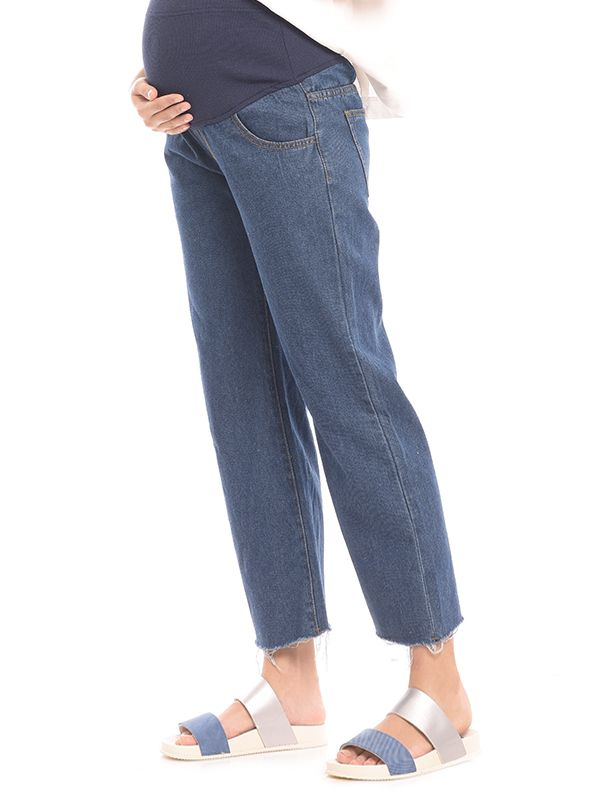 one gallery picture for High Waist Barrel Leg Maternity Jeans Celana Jeans Hamil