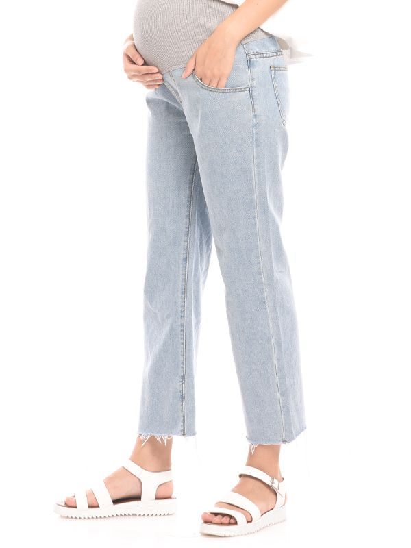 gallery picture of High Waist Barrel Leg Maternity Jeans Celana Jeans Hamil