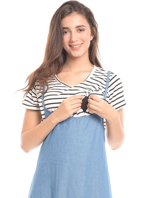one gallery picture for 2 Piece Midi Blue Stripes Denim Maternity & Nursing Dress Baju Hamil & Menyusui