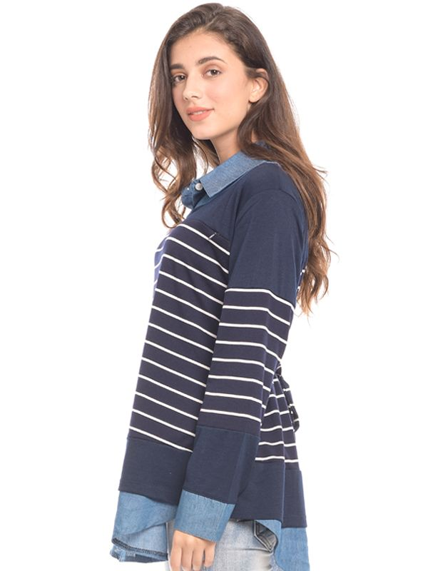 one gallery picture for MOOIMOM Navy Striped Vest Long Sleeves Nursing Shirt Baju Hamil & Menyusui