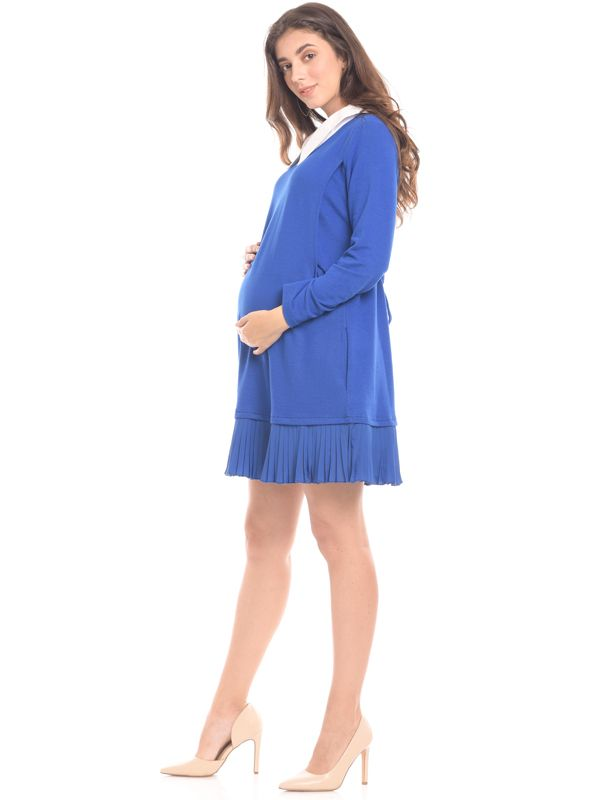 one gallery picture for Midi Blue Vest Long Sleeves Maternity & Nursing Dress Baju Hamil & Menyusui