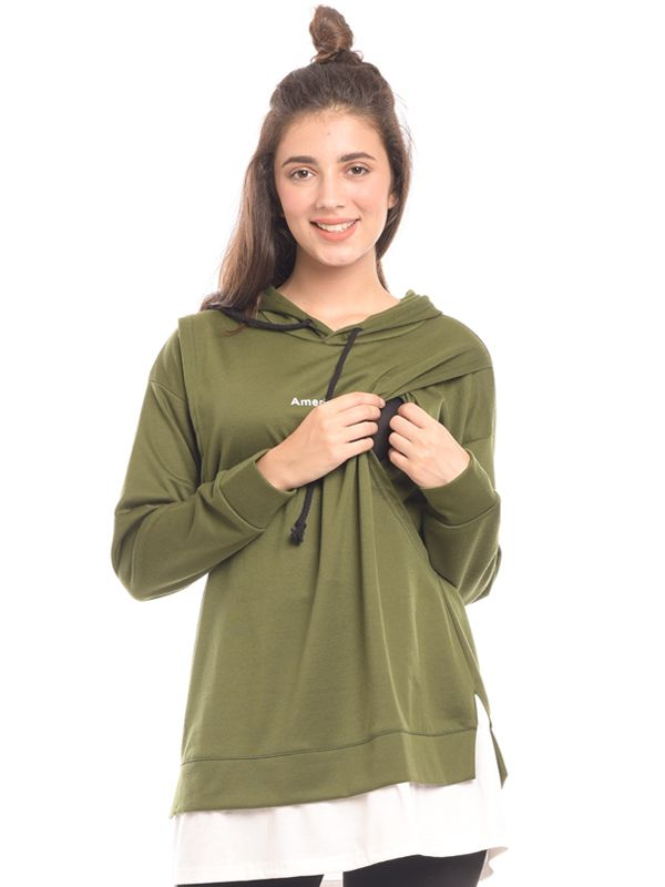 one gallery picture for Green Long Sleeves Maternity & Nursing Hoodie Baju Hamil & Menyusui