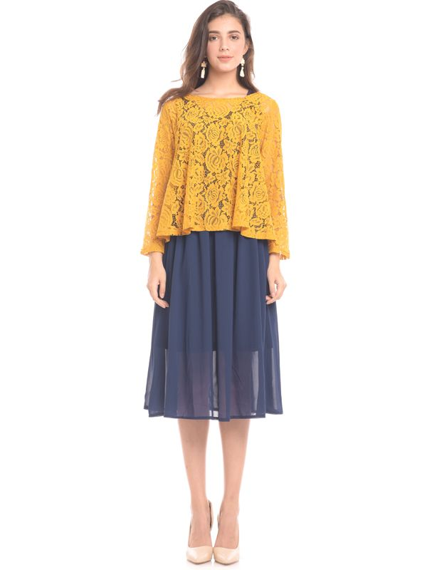 one gallery picture for 2 Piece Yellow Lace Nursing Dress Baju Hamil & Menyusui